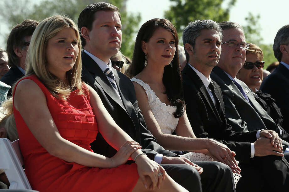 (L-R) George W. Bush's daughter Jenna Bush Hager, her husband Henry Hager, sister Barbara Bush, Miky Fabrega, former Governor of Florida Jeb Bush, and his wife Columba Bush attend the opening ceremony of the George W. Bush Presidential Center April 25, 2013 in Dallas, Texas. The Bush library, which is located on the campus of Southern Methodist University, with more than 70 million pages of paper records, 43,000 artifacts, 200 million emails and four million digital photographs, will be opened to the public on May 1, 2013. The library is the 13th presidential library in the National Archives and Records Administration system. Photo: Alex Wong, Getty Images / 2013 Getty Images
