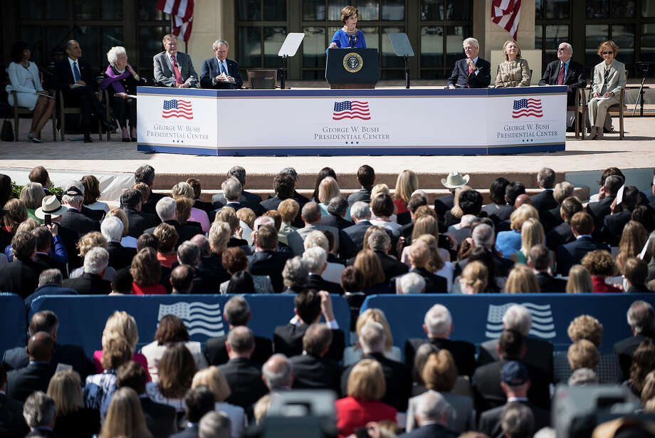 Former First Lady Laura Bush speaks during a dedication ceremony at the George W. Bush Library and Museum on the grounds of Southern Methodist University April 25, 2013 in Dallas, Texas. The Bush library is dedicated to chronicling the presidency of the United State's 43rd President, George W. Bush. Photo: BRENDAN SMIALOWSKI, AFP/Getty Images / 2013 AFP