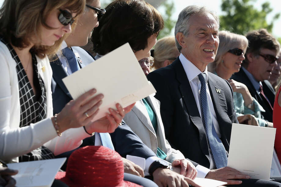 Former Prime Minister of the United Kingdom Tony Blair attends the opening ceremony of the George W. Bush Presidential Center April 25, 2013 in Dallas, Texas. The Bush library, which is located on the campus of Southern Methodist University, with more than 70 million pages of paper records, 43,000 artifacts, 200 million emails and four million digital photographs, will be opened to the public on May 1, 2013. The library is the 13th presidential library in the National Archives and Records Administration system. Photo: Alex Wong, Getty Images / 2013 Getty Images