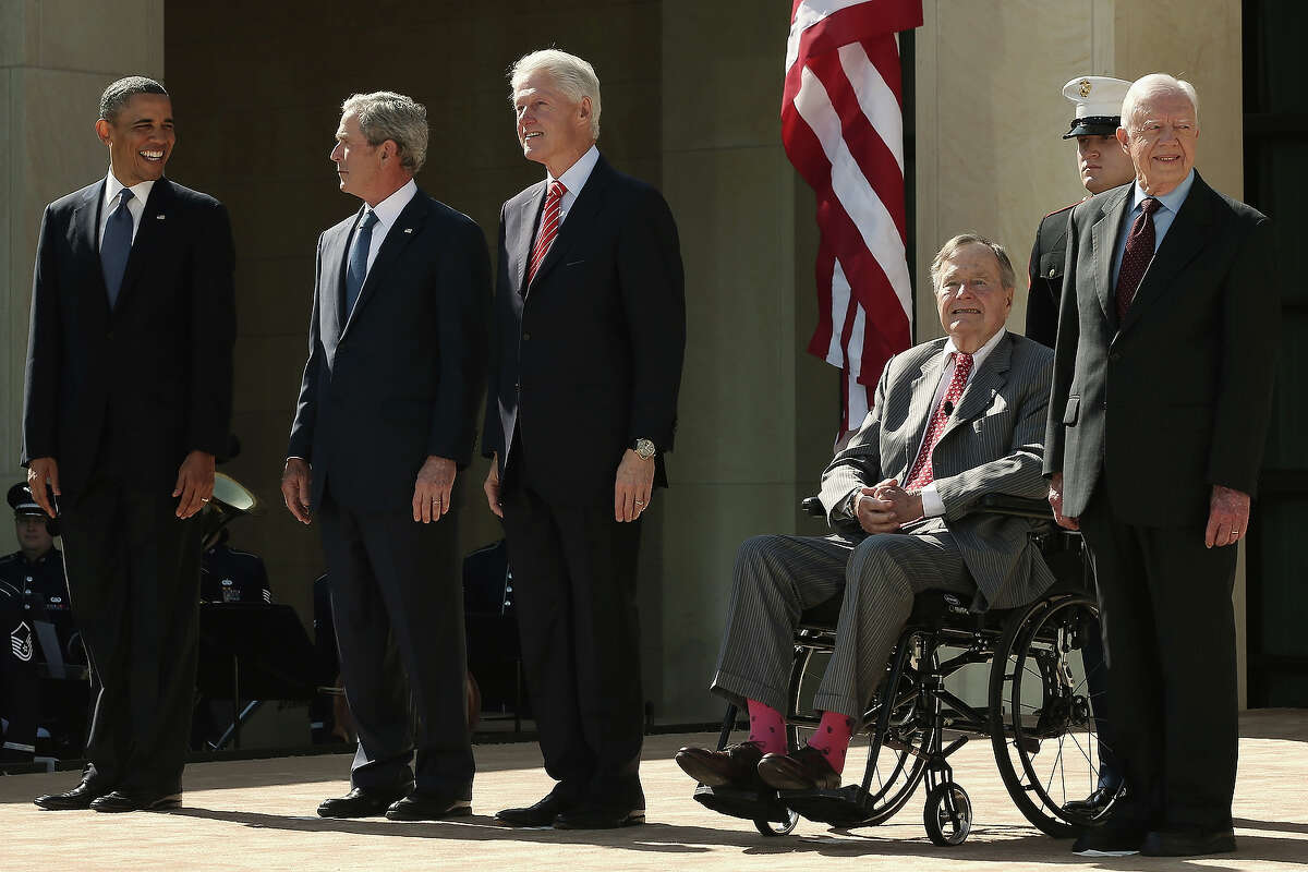 (L-R) U.S. President Barack Obama, former President George W. Bush, former President Bill Clinton, former President George H.W. Bush and former President Jimmy Carter attend the opening ceremony of the George W. Bush Presidential Center April 25, 2013 in Dallas, Texas. The Bush library, which is located on the campus of Southern Methodist University, with more than 70 million pages of paper records, 43,000 artifacts, 200 million emails and four million digital photographs, will be opened to the public on May 1, 2013. The library is the 13th presidential library in the National Archives and Records Administration system.