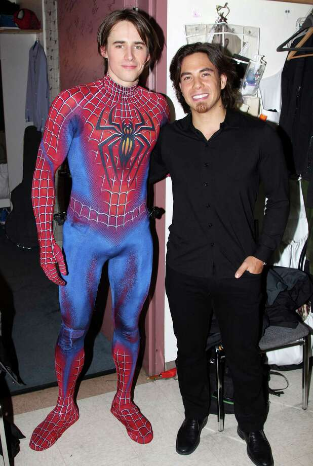 "Reeve Carney and Apolo Anton Ohno pose backstage at the hit musical ""Spider-Man:Turn Off the Dark"" at The Foxwoods Theater on Jan. 11, 2012 in New York City.  (Photo by Bruce Glikas/FilmMagic) Photo: Bruce Glikas, Getty Images / 2012 Bruce Glikas"