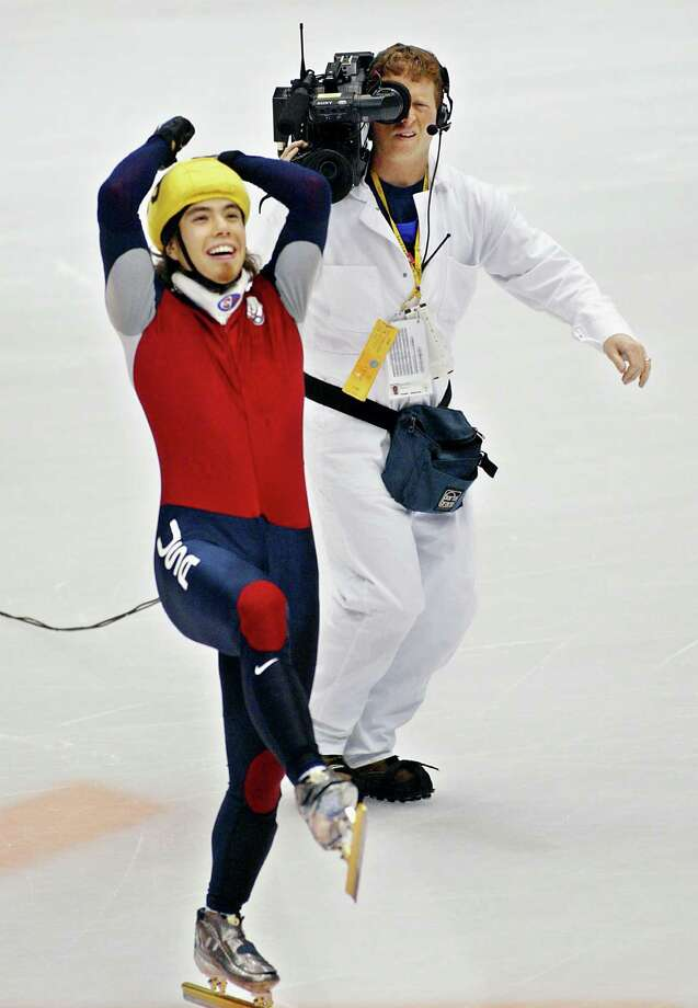 Apolo Anton Ohno jubilates on the ice after the results of the the mens 1500m short track finals at the Olympic Ice Center during the Winter Olympics in Salt Lake City. Photo: TIMOTHY A. CLARY, Getty Images / AFP