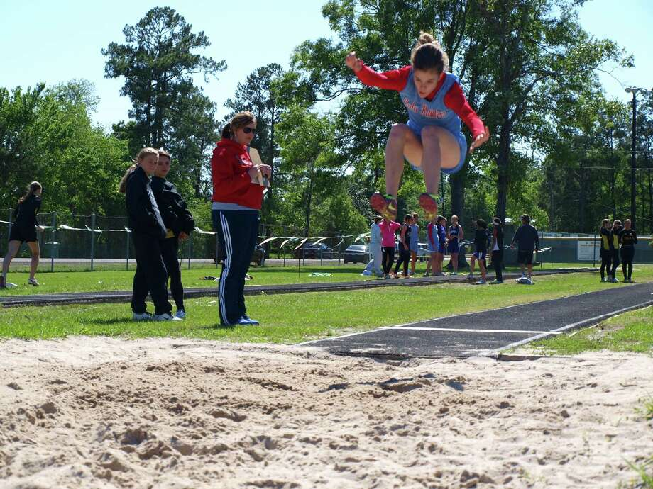 Megan Wilkinson broke the Tri County District and School Record for Lumberton Middle School in the Long Jump. Photo: Handout