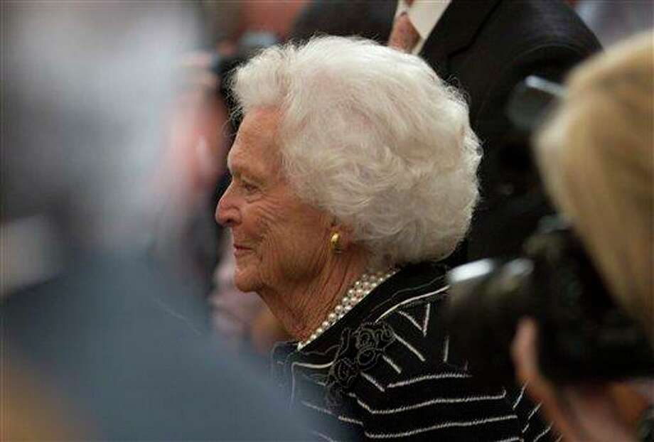 Former first lady Barbara Bush arrive for the unveiling ceremony of former President George W. Bush and former first lady Laura Bush's portraits in the East Room of the White House in Washington, Thursday, May 31, 2012. (AP Photo/Carolyn Kaster) Photo: Carolyn Kaster, AP / AP