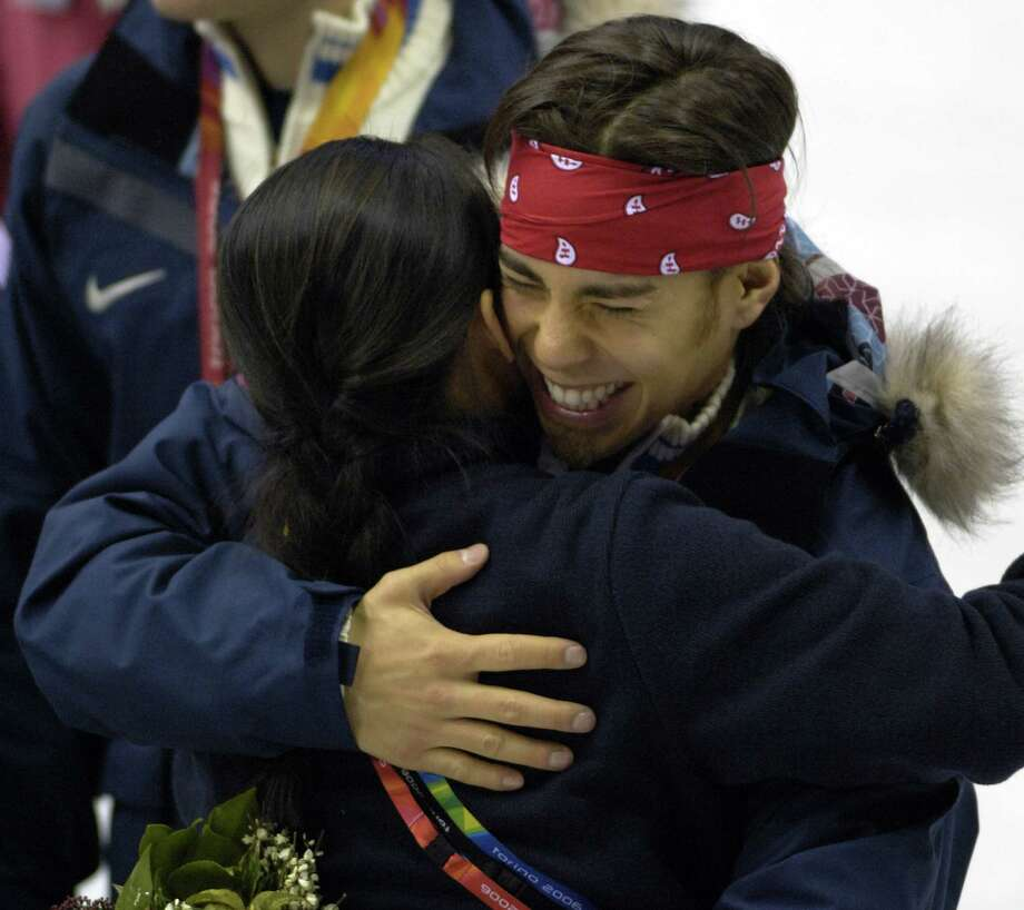 Apolo Anton Ohno celebrates winning a gold medal during the Short Track Speed Skating 500 m at the 2006 Olympic Games held at the Palavela in Torino, Italy on Feb. 25, 2006. Photo: S. Levin, Getty Images / Getty Images Europe