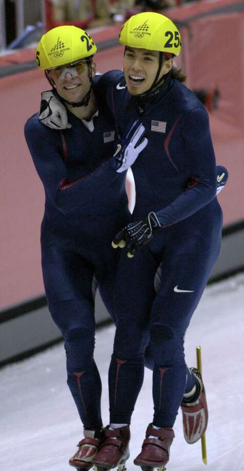 Rusty Smith and Apolo Anton Ohno celebrate during the Short Track Speed Skating 5000 m Relay at the 2006 Olympic Games held at the Palavela in Torino, Italy on Feb. 25, 2006. Photo: S. Levin, Getty Images / Getty Images Europe