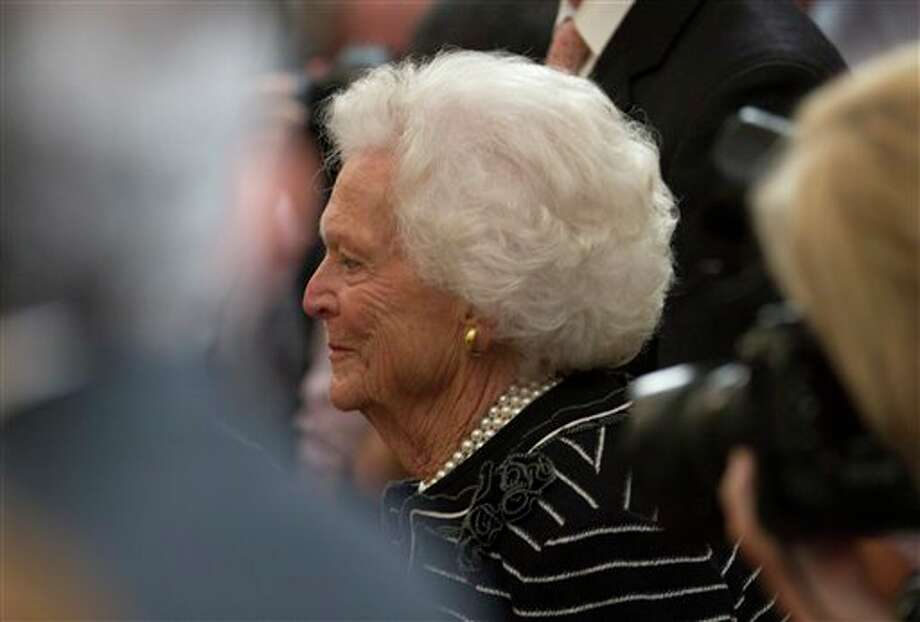 Former first lady Barbara Bush arrive for the unveiling ceremony of former President George W. Bush and former first lady Laura Bush's portraits in the East Room of the White House in Washington, Thursday, May 31, 2012. Photo: Carolyn Kaster, AP / AP
