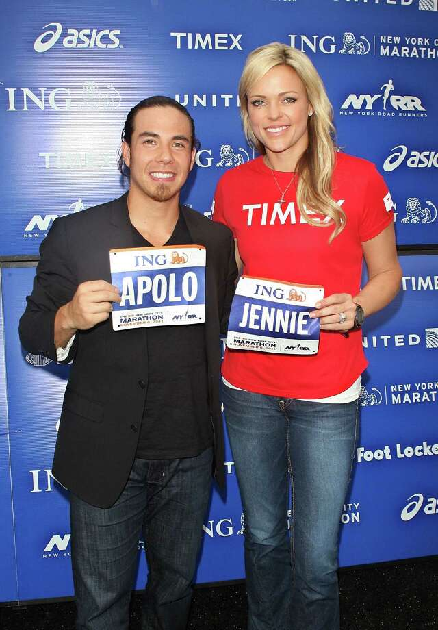Apolo Ohno and Jennie Finch attend a press conference at Marathon Pavilion in Central Park on Nov. 3, 2011 in New York City. (Photo by Jim Spellman/WireImage) Photo: Jim Spellman, Getty Images / 2011 Jim Spellman