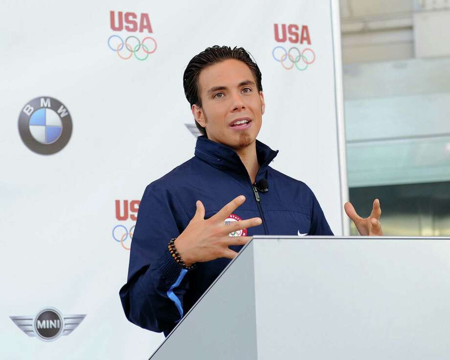 Apolo Anton Ohno attends the announcement of a new multi-year partnership between BMW Group & the United States Olympic Committee at BMW of Manhattan on July 26, 2010 in New York City. Photo: Jason Kempin, Getty Images / 2010 Getty Images