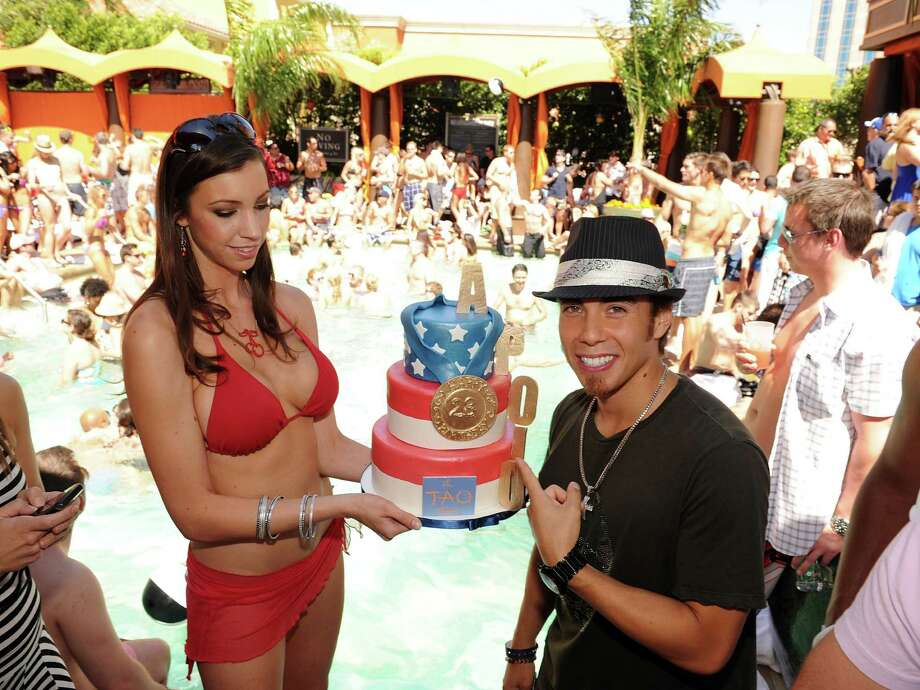 "Apolo Ohno celebrates his birthday at the Carrera ""Escape"" party at TAO Beach at the Venetian Hotel and Casino Resort on May 22, 2010 in Las Vegas.  (Photo by Denise Truscello/WireImage) Photo: Denise Truscello, Getty Images / 2010 Denise Truscello"