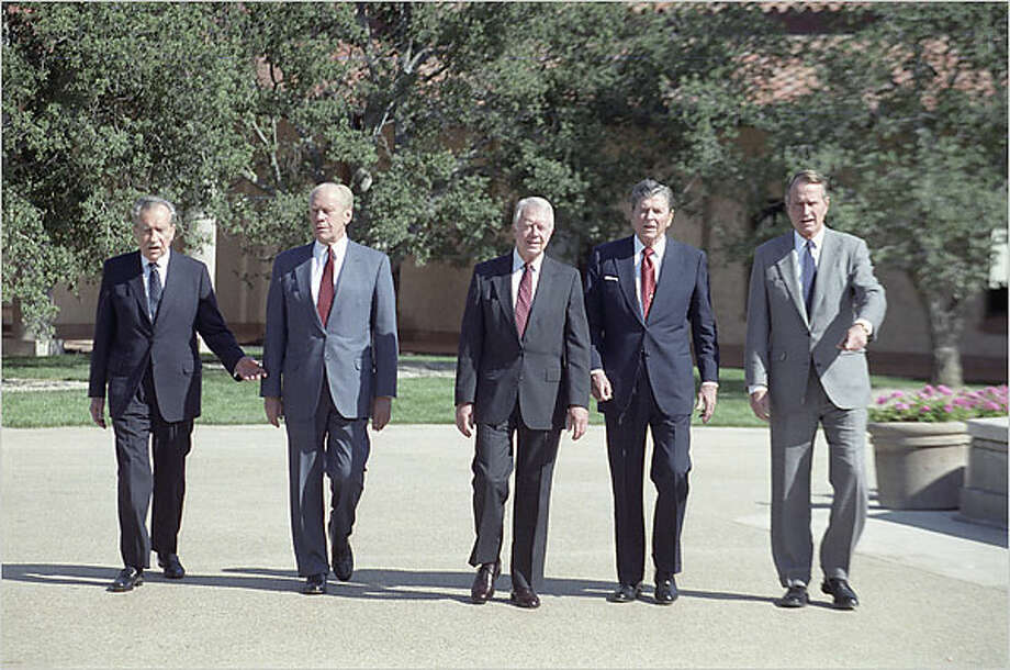 Presidents Richard Nixon, from left, Gerald Ford, Jimmy Carter, Ronald Reagan and George H.W. Bush at the opening of the Reagan Presidential Library in Simi Vally, Calif.