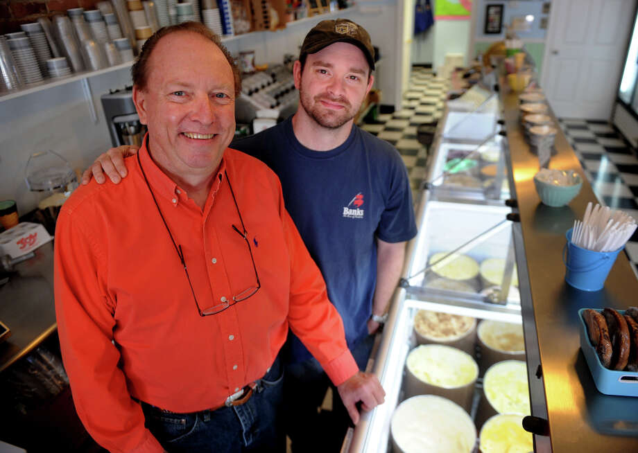 David M. Grant and son David J. Grant, both of Shelton, owners of Dave & Dave's Old Fashioned Ice Cream Shoppe at 507 Howe Avenue in Shelton, Conn. on Thursday, April 25, 2013. Photo: Brian A. Pounds / Connecticut Post