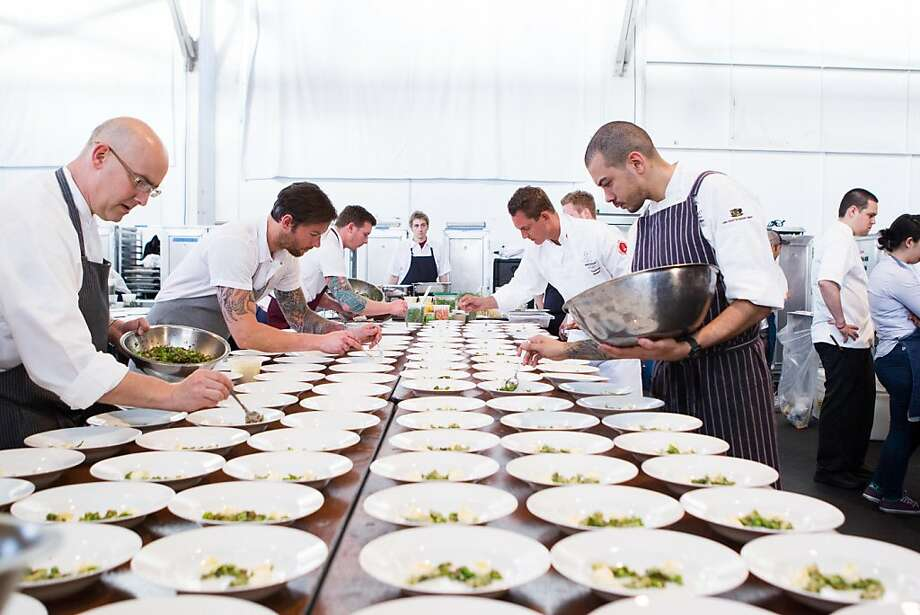 Chefs prepare plates during Meals on Wheels' Star Chefs & Vintners Gala on April 21, 2013. Photo: Drew Altizer Photography