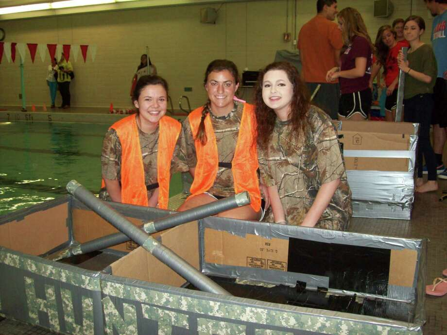 Lumberton High School students used cardboard and duct tape to set sail. Photo: Handout