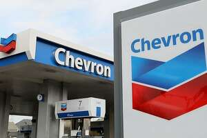 ALAMEDA, CA - JANUARY 29:  The Chevron logo is displayed at a Chevron gas station January 29, 2010 in Alameda, California. Chevron reported a 37 percent decline in fourth quarter profits with earnings of $3.07 billion, or $1.53 a share compared to $4.9 billion, or $2.44 a share, a year ago.