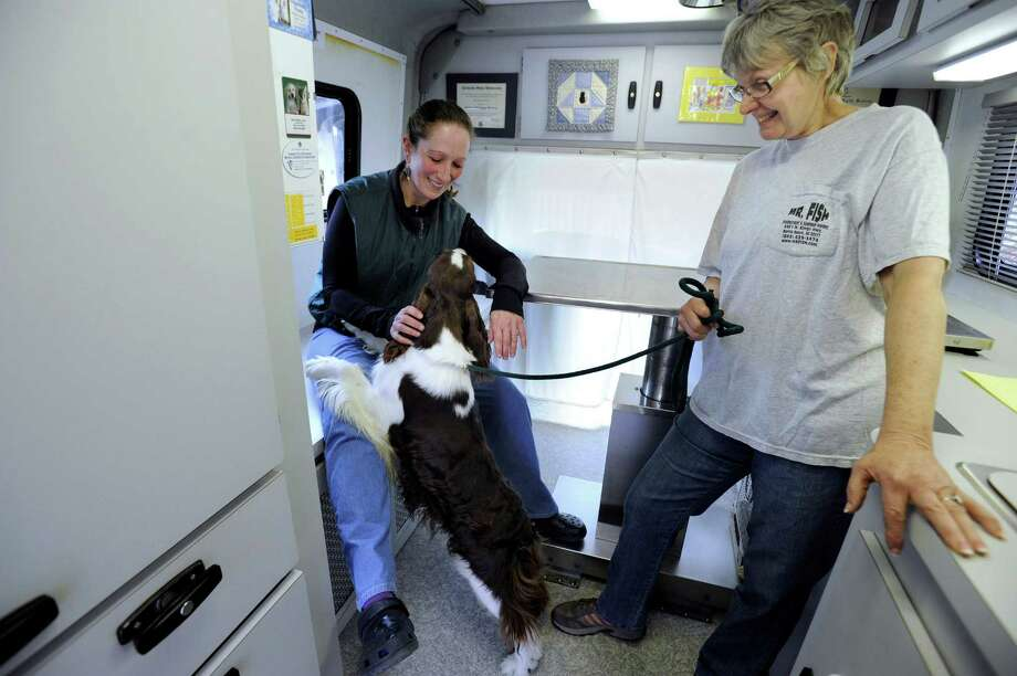 Dr. Dale Krier, D.V.M., of Sherman, Conn., is the owner of Creature Comforts, a mobile veterinarian clinic. On Wednesday, April 24, 2013, she visited the Cerise English Springer, a show kennel in Sherman, where manager Kathy Kirk, right, brought dogs for Krier to treat. Photo: Carol Kaliff / The News-Times