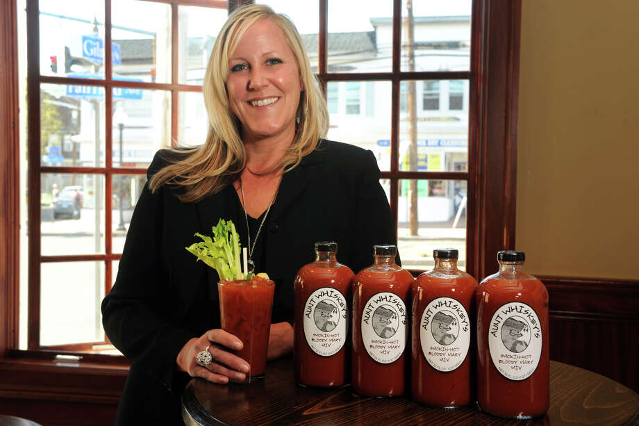 Courtney Whiting is the creator of Aunt Whiskey's Bloody Mary Mix, which is carried at local restaurants and liquor stores. Photo: Ned Gerard / Connecticut Post