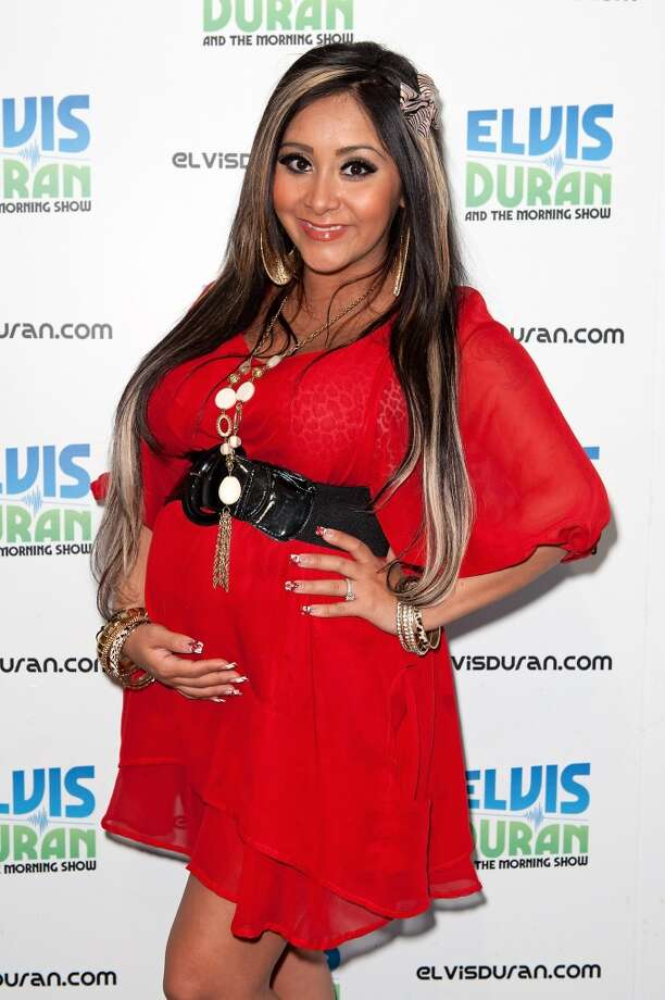 "WHILE PREGNANT: Nicole ""Snooki"" Polizzi visits the Elvis Duran Z100 Morning Show at Z100 Studio on June 20, 2012 in New York City.  (Photo by D Dipasupil/Getty Images)"