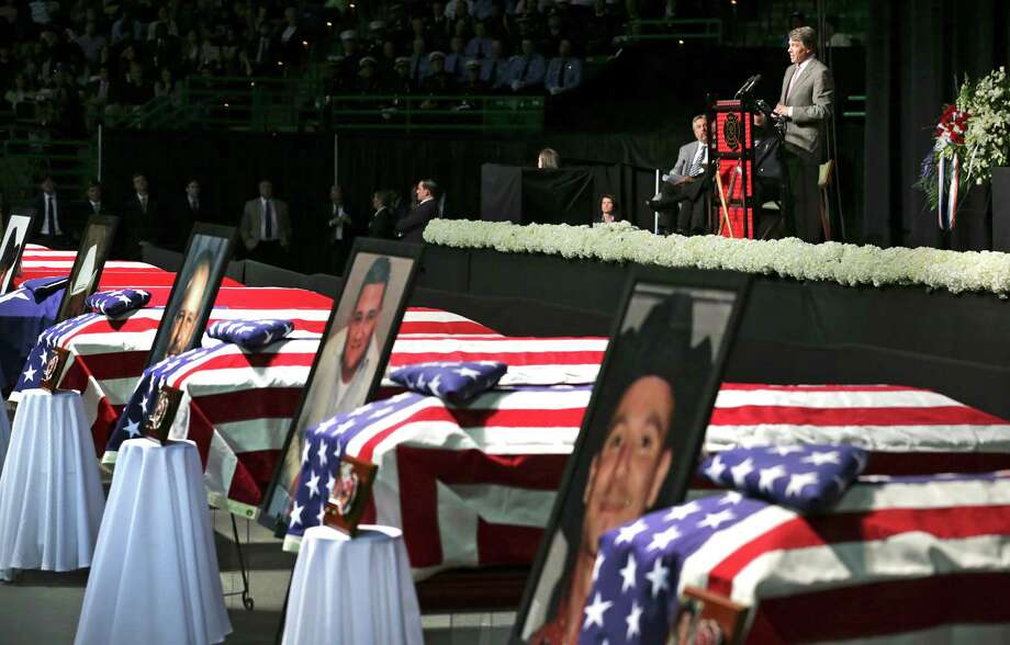 Texas Gov. Rick Perry delievers his speech during the memorial service for the fire fighters that were killed in the West, TX explosion, on Thursday April 25, 2013 at the Ferrell Center at Baylor University. Photo: Bob Owen, San Antonio Express-News / ©2013 San Antonio Express-News
