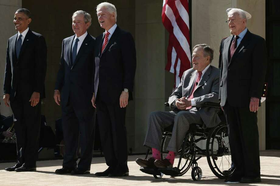 President Barack Obama, and former presidents George W. Bush,  Bill Clinton, George H. W. Bush and Jimmy Carter attend the opening ceremony of the George W. Bush Presidential Center in Dallas. Photo: Alex Wong, Staff / 2013 Getty Images