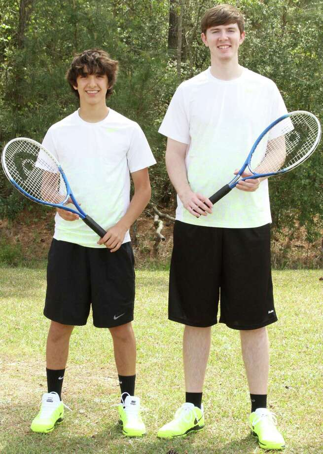 Brett Foster, left, and Matthew McAfee won their fourth consecutive TAPPS 1A state title on Thursday in boys tennis doubles. Photo: Courtesy Of OCC