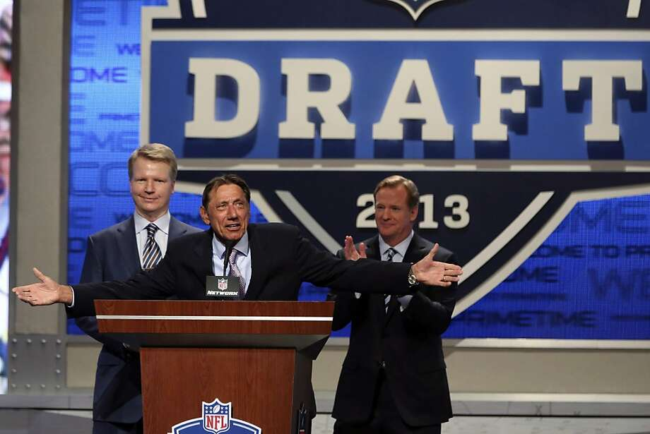 NFL Commissioner Roger Goodell, right, Joe Namath and Phil Simms open the NFL football draft, Thursday, April 25, 2013, at Radio City Music Hall in New York. (AP Photo/Mary Altaffer) Photo: Mary Altaffer, Associated Press
