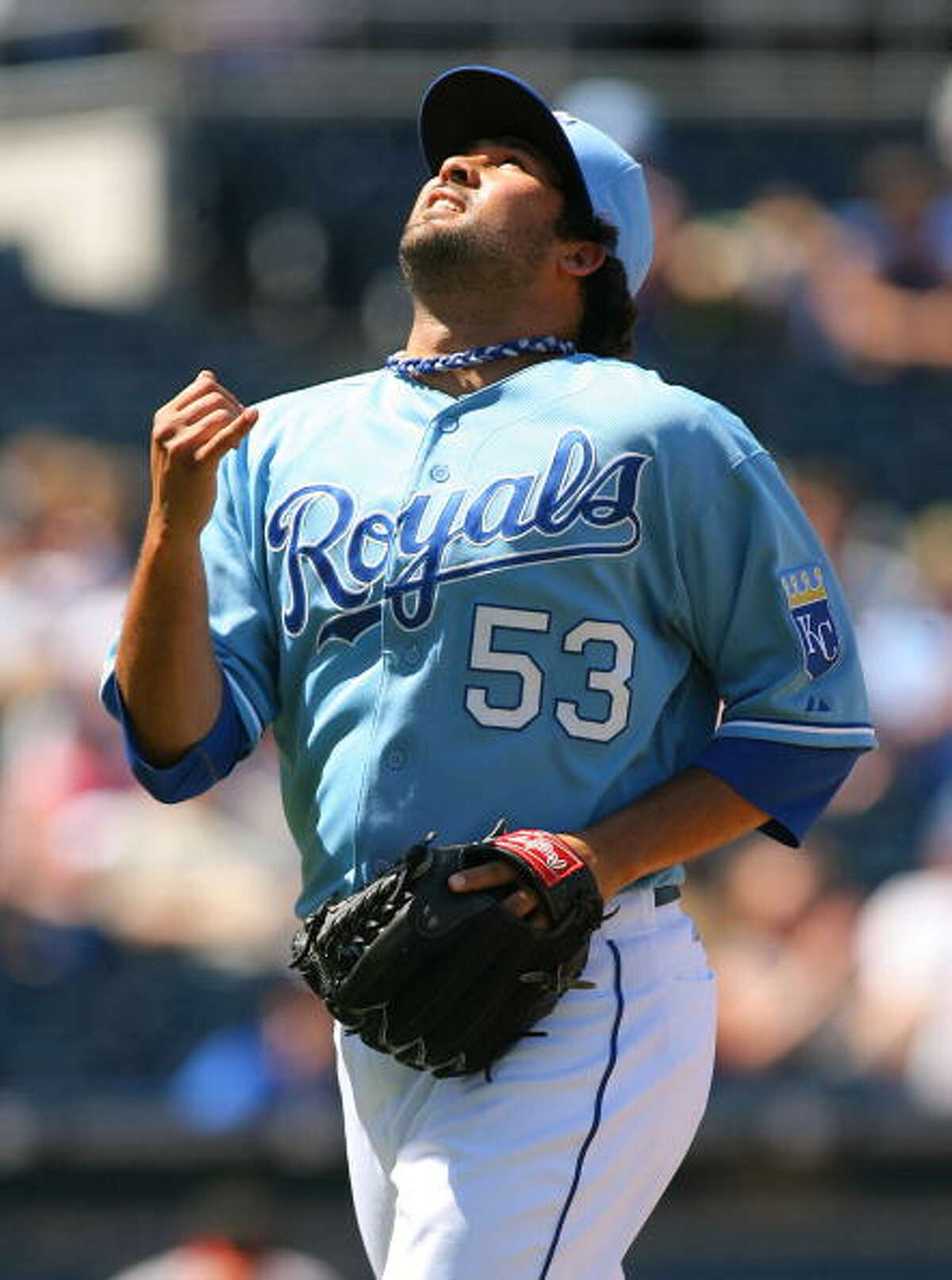 Texeira was claimed off waivers by the Kansas City Royals later that year. Here, he walks off the field during a game against the Baltimore Orioles on August 1, 2010, at Kauffman Stadium in Kansas City, Mo. Texeira last appeared in the Major Leagues in 2011, with the Royals. (Photo by Tim Umphrey/Getty Images)
