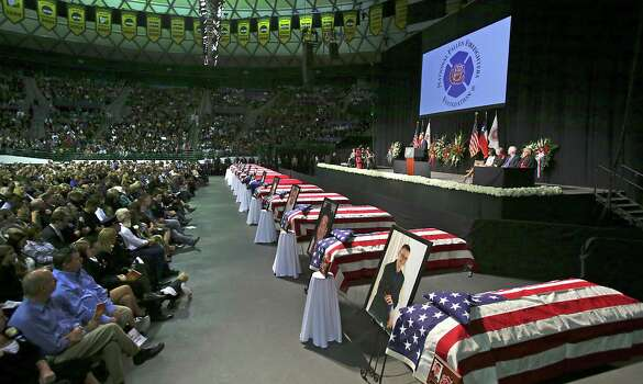 President Barack Obama speaks on Thursday April 25, 2013, at the memorial service for the 12 first responders that were killed in the West explosion, at the Ferrell Center at Baylor University. Photo: Bob Owen, San Antonio Express-News / ©2013 San Antonio Express-News