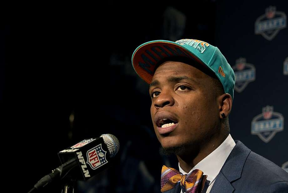 Dion Jordan from Oregon speaks during a news conference after being selected third overall by the Miami Dolphins during the first round of the NFL football draft, Thursday, April 25, 2013 at Radio City Music Hall in New York. (AP Photo/Craig Ruttle) Photo: Craig Ruttle, Associated Press