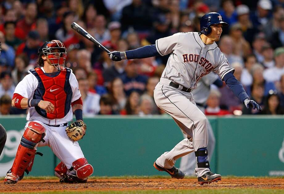 Jason Castro of the Astros gets a hit during the third inning. Photo: Jim Rogash, Getty Images