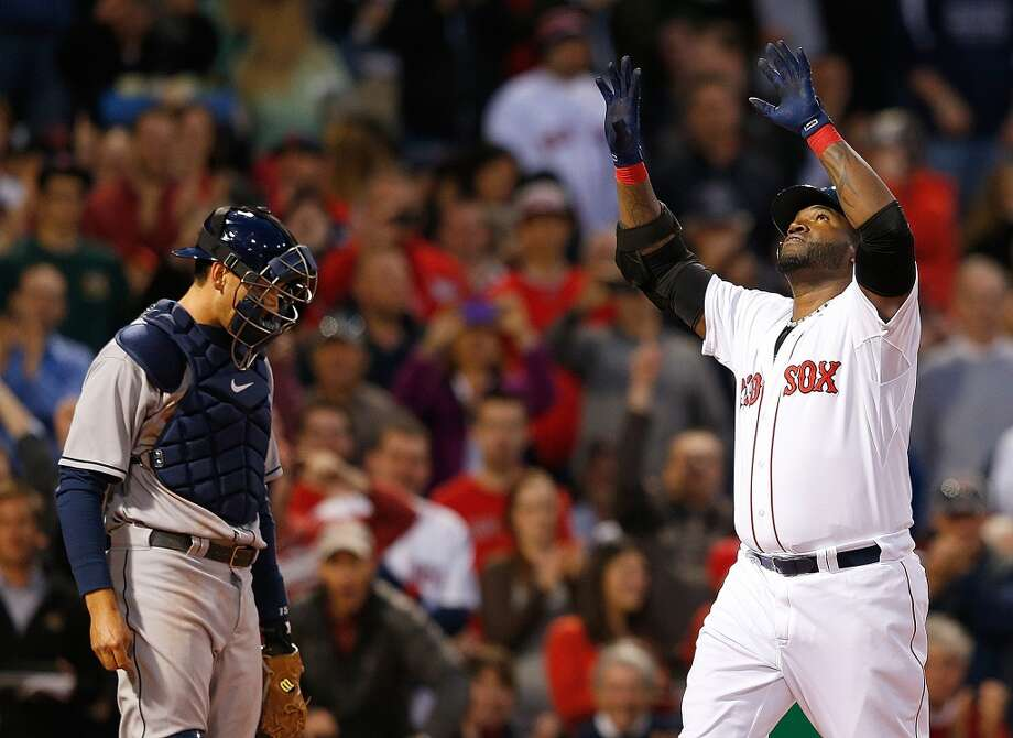 David Ortiz of the Red Sox celebrates his home run during the third inning. Photo: Jim Rogash, Getty Images