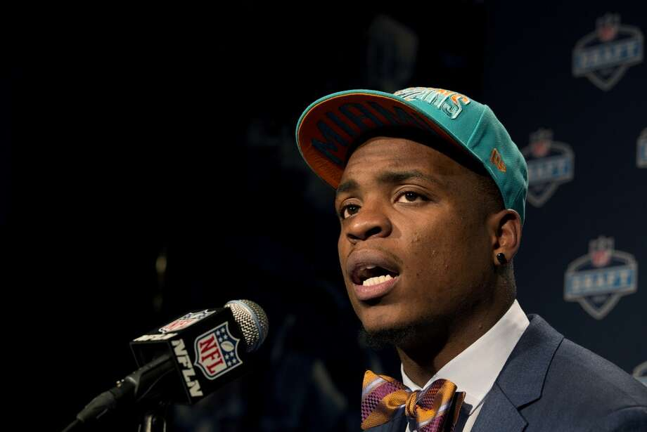 Dion Jordan from Oregon speaks during a news conference after being selected third overall by the Miami Dolphins during the first round of the NFL football draft, Thursday, April 25, 2013 at Radio City Music Hall in New York.