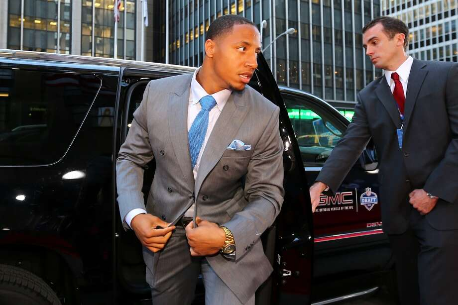 LSU safety Eric Reid, picked by the San Francisco 49ers with the 18th selection, arrives on the red carpet for the first round of the 2013 NFL Draft.