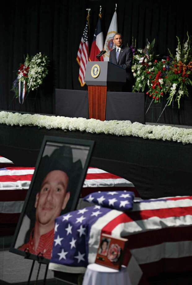 President Obama speaks at the West memorial service. Photo: Erich Schlegel, Getty Images / 2013 Getty Images