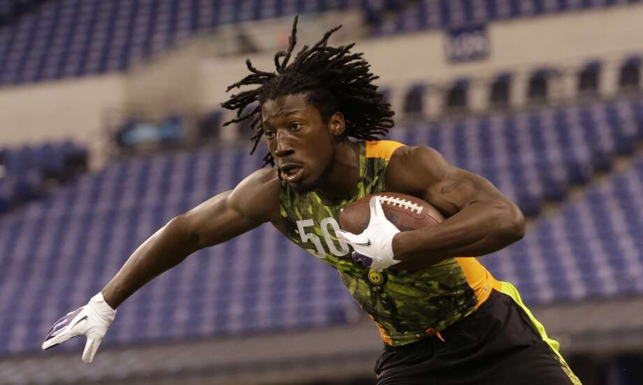 Desmond Trufant runs a drill during the NFL Combine on  Feb. 26 at Lucas Oil Stadium in Indianapolis.