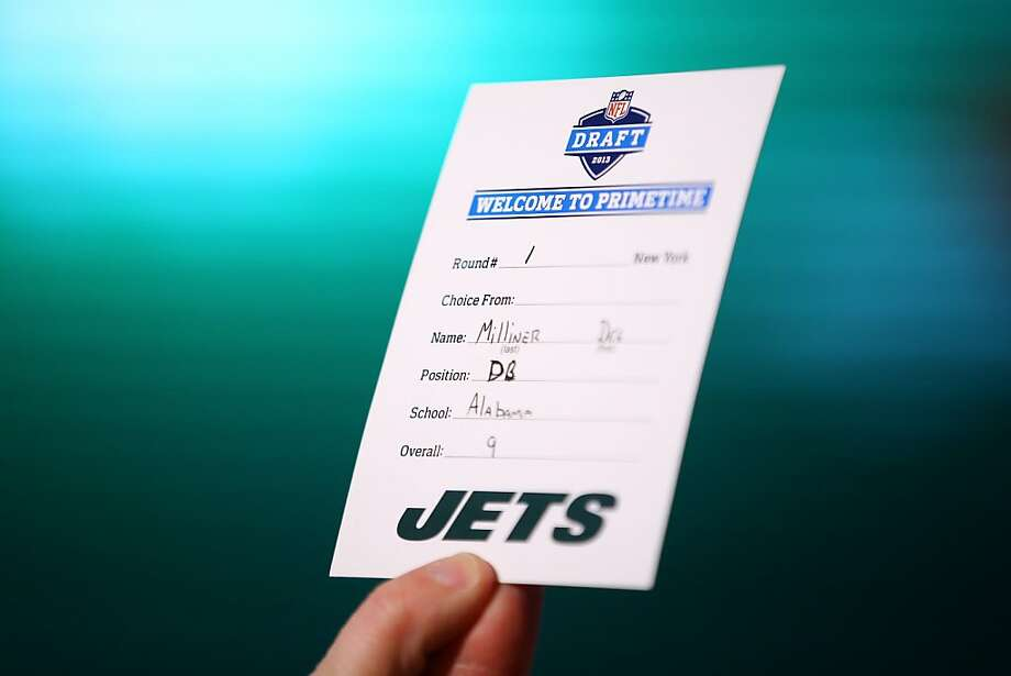 NEW YORK, NY - APRIL 25:  A detail of the draft card with the name of Dee Milliner of the Alabama Crimson Tide announcing that Milliner was the #9 overall pick by the New York Jets in the first round of the 2013 NFL Draft at Radio City Music Hall on April 25, 2013 in New York City.  (Photo by Al Bello/Getty Images) Photo: Al Bello, Getty Images