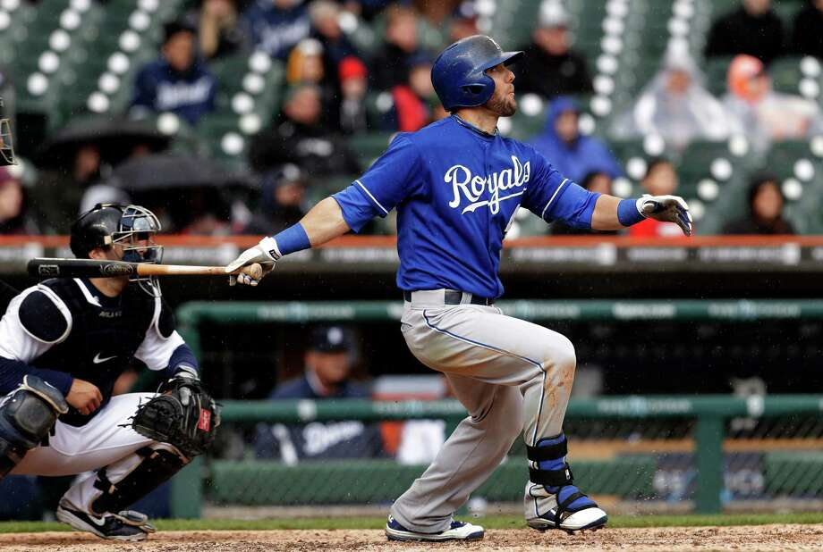 Kansas City Royals' Alex Gordon hits a grand slam against the Detroit Tigers pitcher Darin Downs in the 10th inning of a baseball game in Detroit, Thursday, April 25, 2013. (AP Photo/Paul Sancya) Photo: Paul Sancya