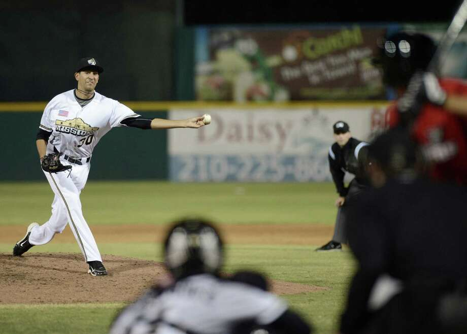 The Missions' Jeff Ibarra delivers a pitch in the seventh inning Thursday against Frisco at Wolff Stadium. Photo: Darren Abate / For The Express-News