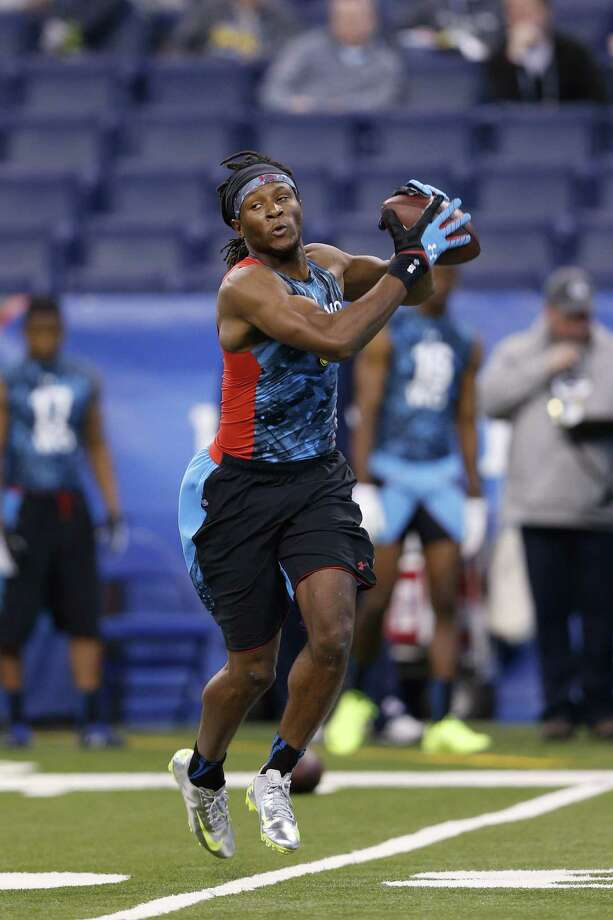 New Texans receiver DeAndre Hopkins, pictured at the NFL combine, had 82 grabs for 1,405 yards last year at Clemson. Photo: Joe Robbins / Getty Images