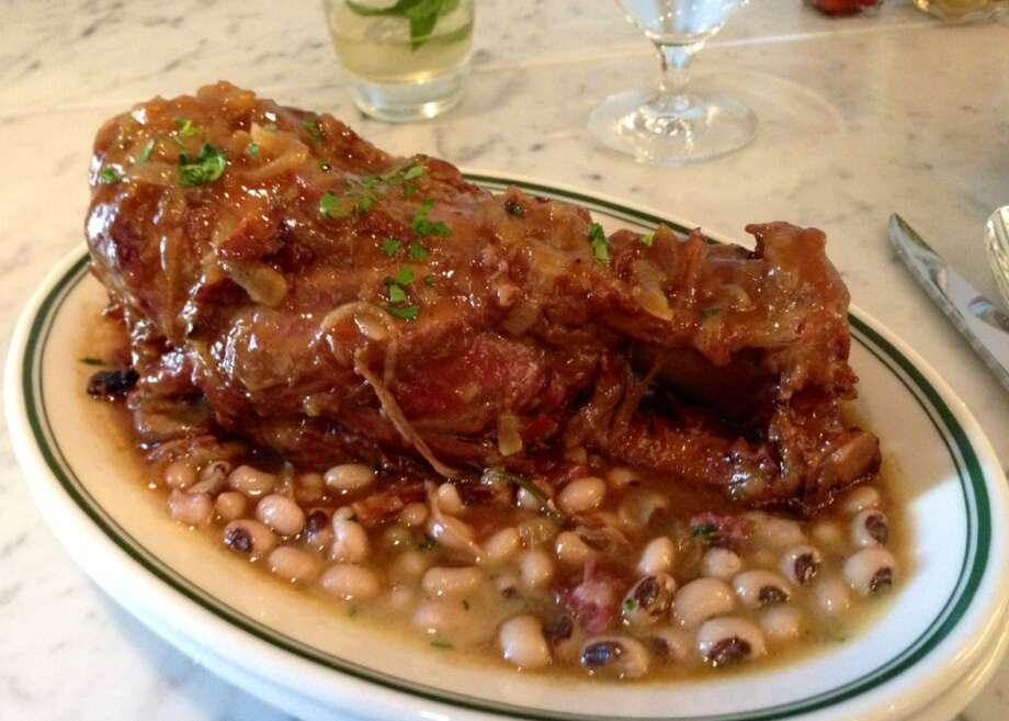 Pork shank with black-eyed peas at Hard Water