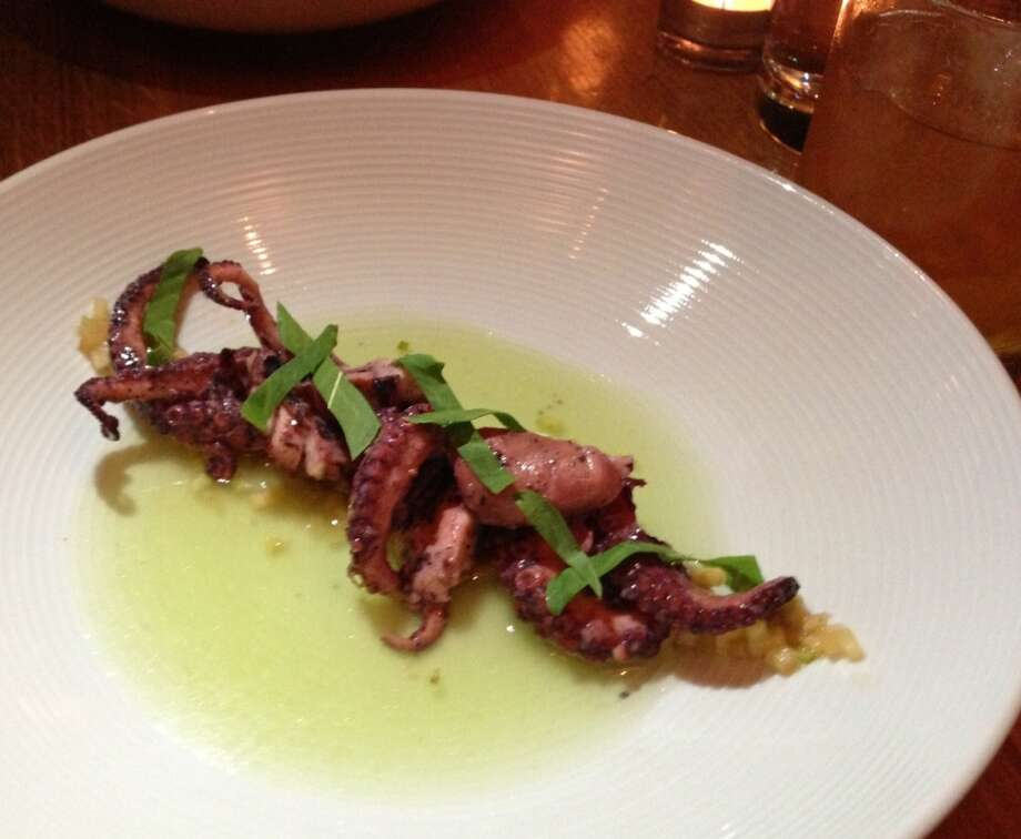 Smoked octopus with cucumber water at Wexler's