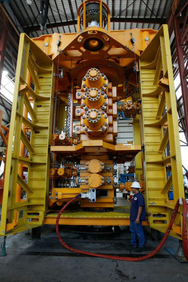 A lower blowout preventer stack shown at a National Oilwell Varco facility Houston. NOV is one of the largest manufacturers of this kind of equipment. Photo: Melissa Phillip, Houston Chronicle