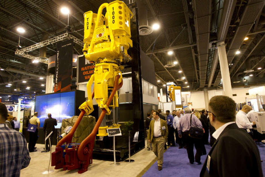 A TDX 1000 top drive from National Oil Well Varco stands on display during the 2012 Offshore Technology Conference in Houston. Photo: Brett Coomer, Houston Chronicle