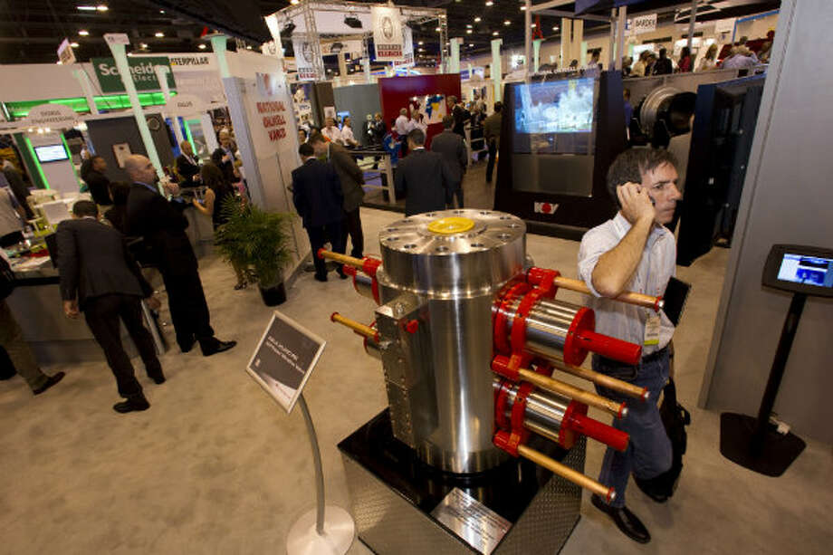 The NOLA 30,000 psi blow out preventer on display at the National Oilwell Varco booth during the 2012 Offshore Technology Conference in Houston. Photo: Brett Coomer, Houston Chronicle