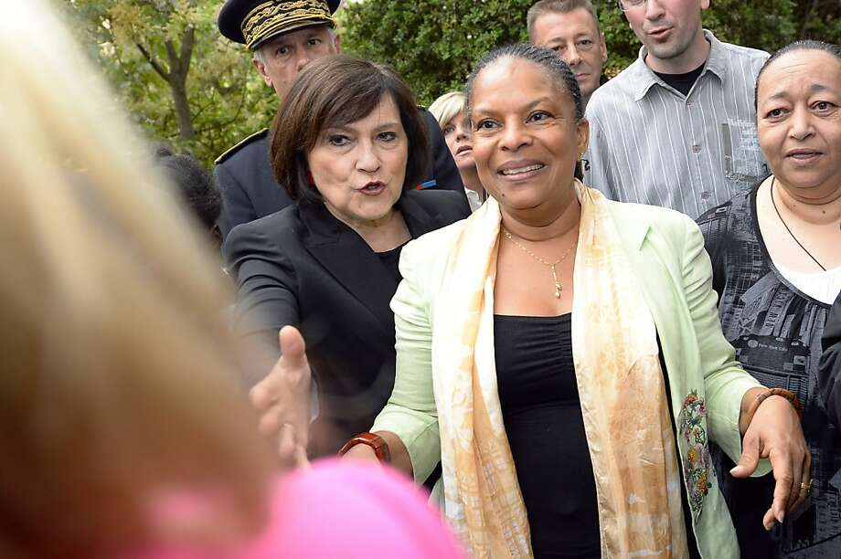 French official Christiane Taubira (right) backs same-sex marriages. Photo: Gerard Julien, AFP/Getty Images
