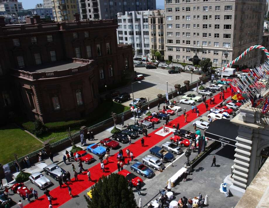 The California Mille cars parked outside San Francisco's Fairmont Hotel, for one of the recent rallies. (All photos courtesy Ron Wren/California Mille.)