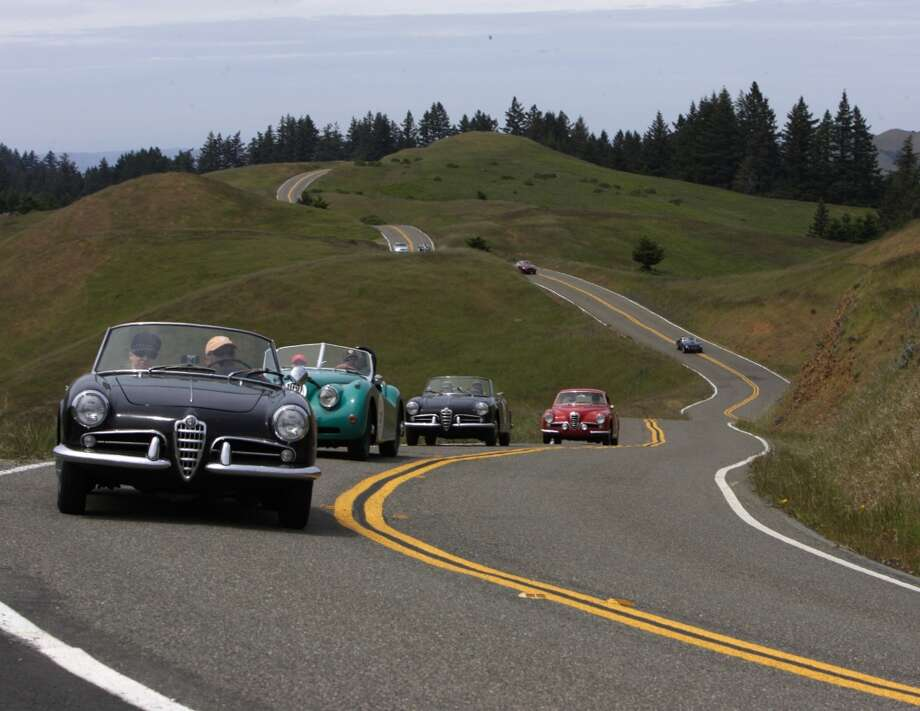 Cars on the roads of Northern California, during the California Mille.