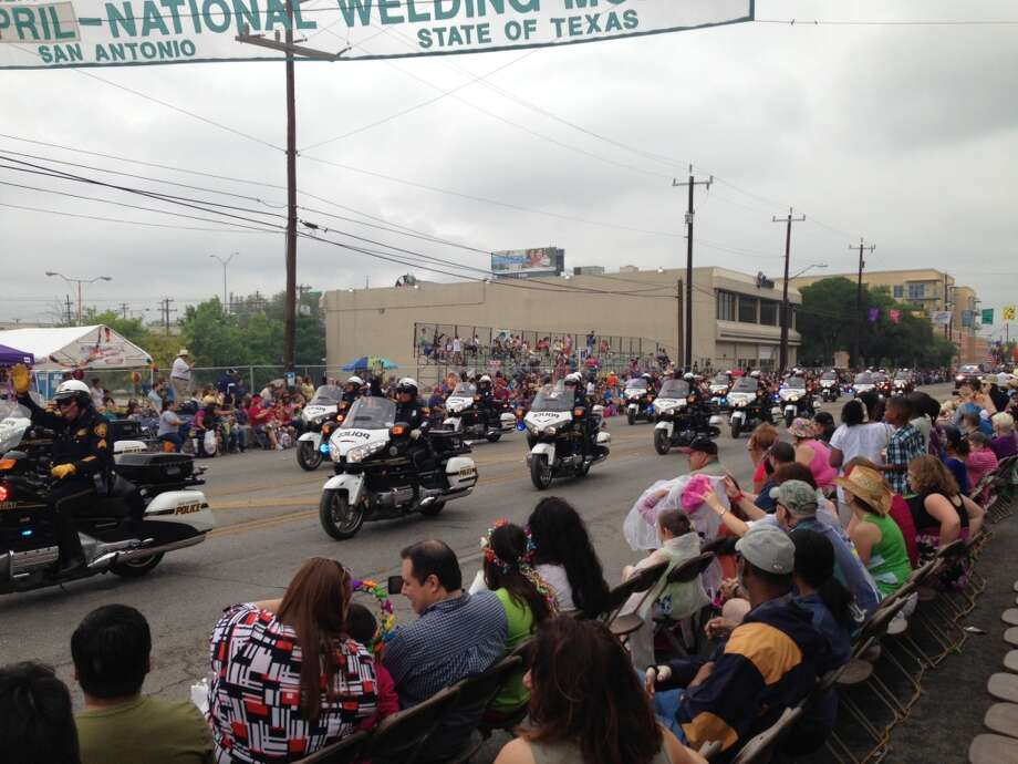 San Antonio motorcycle officers travel down the parade route.