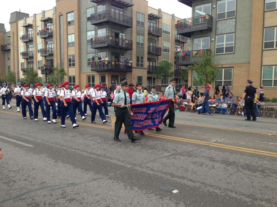 The Jefferson ROTC before the start of the parade.