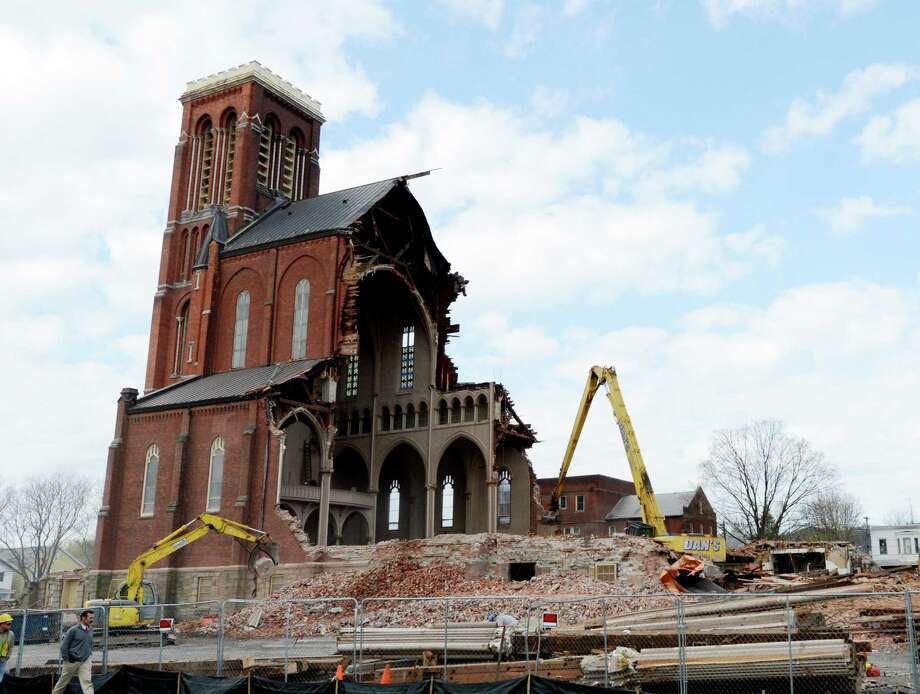 Demolition continues at the St. Patrick's church site April 26, 2013 in Watervliet, N.Y.    (Skip Dickstein/Times Union) Photo: SKIP DICKSTEIN